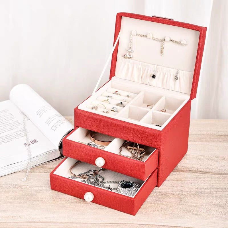 3 Layers Display Jewelry Box Organizer With Pearl