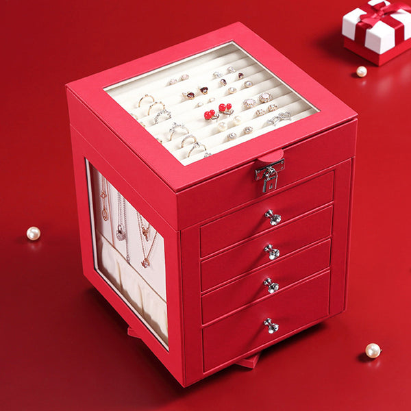 Luxury Red Black Rotating 5 Layers Jewelry Box Organizer  with Lock