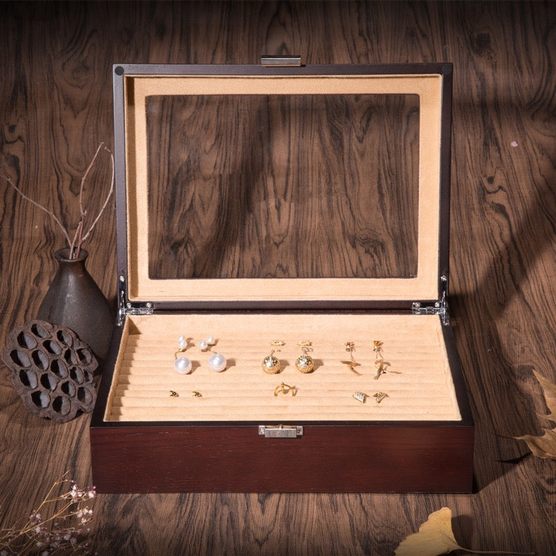 Glass Top Wooden Ring Jewelry Box with 13 Slots Tray Case Holder Earring Organizer - Nillishome