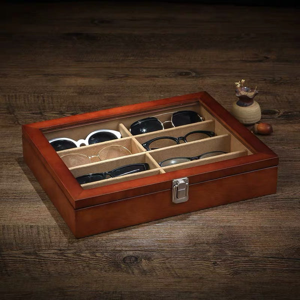 Wooden 8 Slots Eyeglass Sunglass Storage Box,  Jewelry Organizer Collector - Nillishome