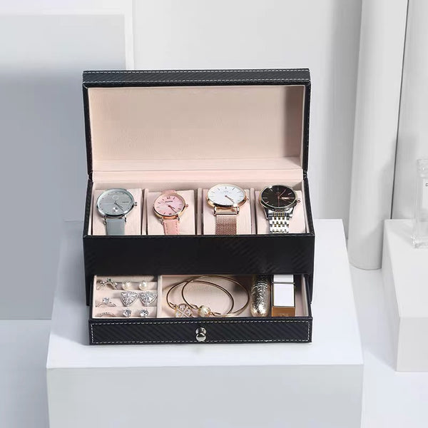 4 Slots Luxury Watch Case Organizer with Drawer Double Layer Jewelry Box