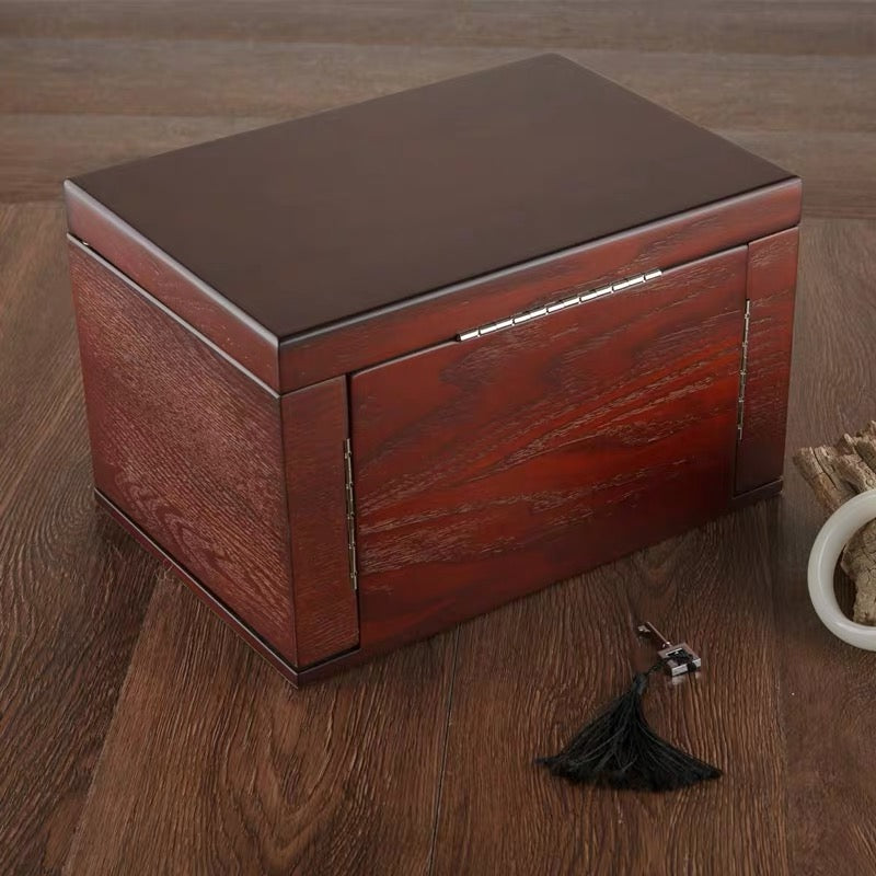 Handmade Large Wooden 4 Layers Jewelry Box, Built-in Mirror and Lock Vintage Style - Nillishome
