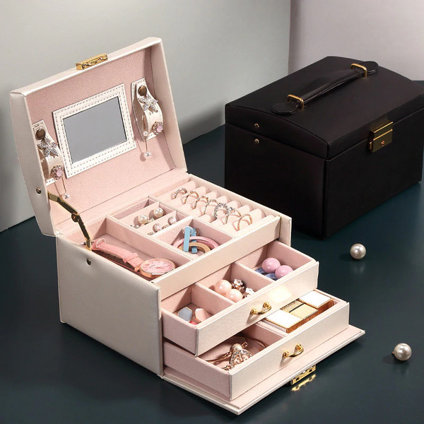 Portable 3 Layers Jewelry box with Lock and Mirror Travel Jewelry Organizer