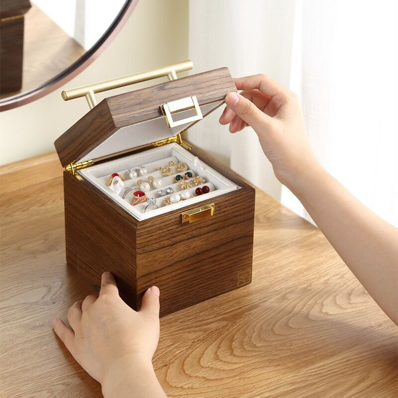 Three-layer Wooden Vintage Jewelry Box Organizer With Handle