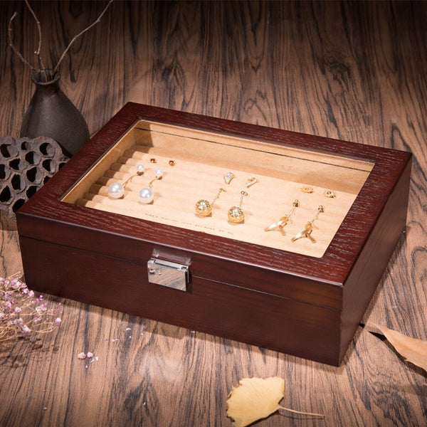 Glass Top Wooden Ring Jewelry Box with 13 Slots Tray Case Holder Earring Organizer