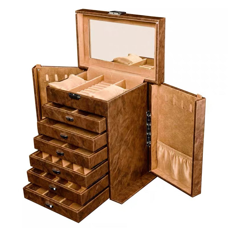 Large Jewelry Organizer, 7 Layers Leather Jewelry Box