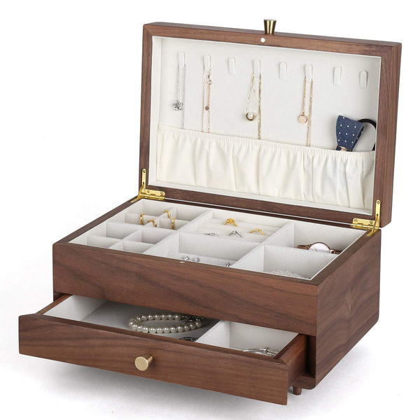 Walnut Wooden 2 Layers Jewelry Box Jewelry Storage Case - Nillishome