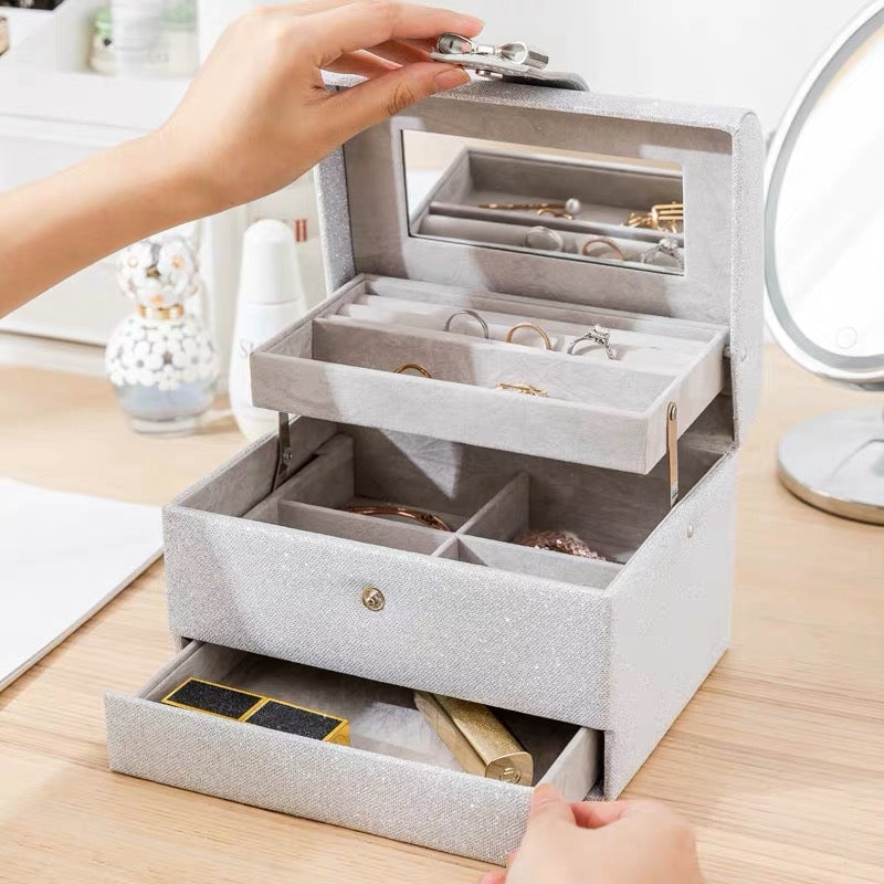 Shine Shine 3 Layers Jewelry Box Jewelry Organizer with Mirror - Nillishome