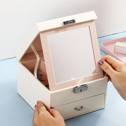 2 Layers Large Mirror Jewelry box with lock