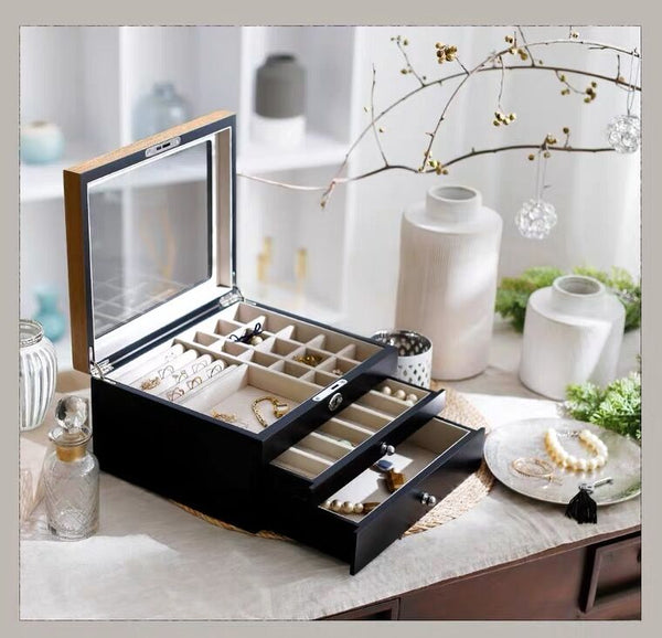 Wooden Jewelry Box with Glass Lid, 3-Layer Jewelry Organizer with Lock