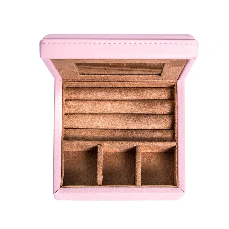 Portable Jewelry Box With Mirror Mini Travel Storage Box
