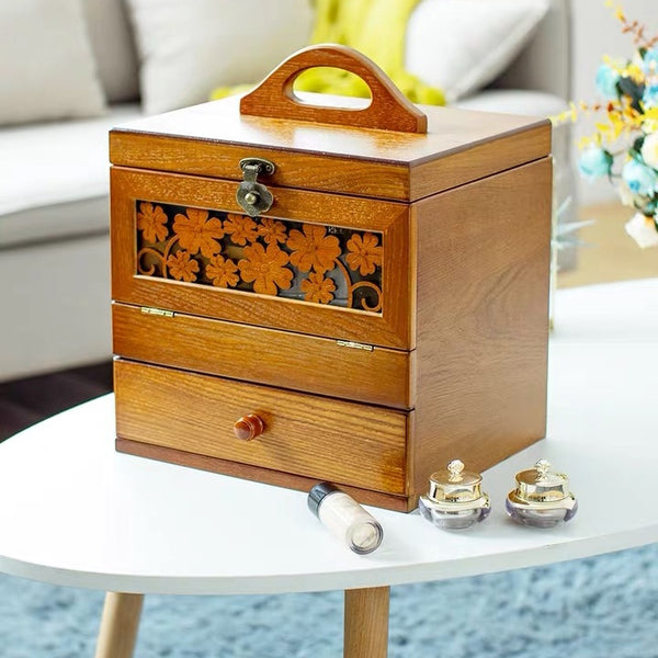Vintage Wooden Cosmetic Storage Box Jewelry Box - Large Capacity with Mirror