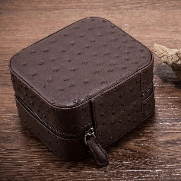 Portable leather Display Zippered Watch Box 2 Slots Travel Case Storage Organizer