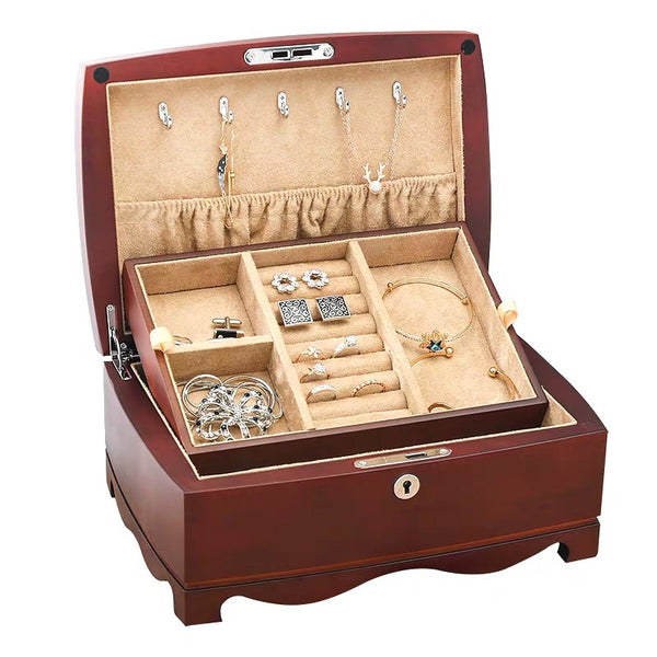 Double Layers Wooden Vintage Jewelry Storage Box With Key - Nillishome