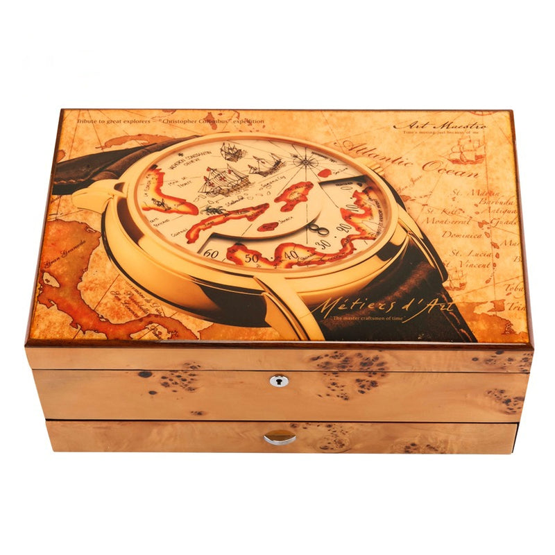 Piano Lacquer 3 Layers Jewelry Box Solid Wooden Watch Box 12 Slots With Key
