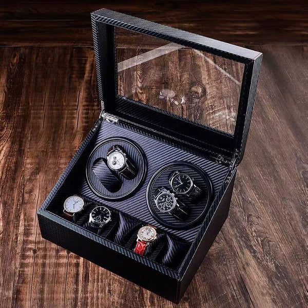 Watch Winder for 4 Automatic Watches, with Extra 5 Watch Storages, Silent Motor