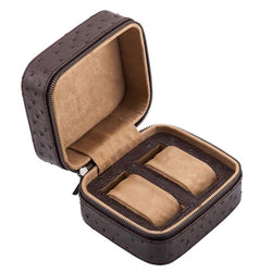 Portable leather Display Zippered Watch Box 2 Slots Travel Case Storage Organizer - Nillishome