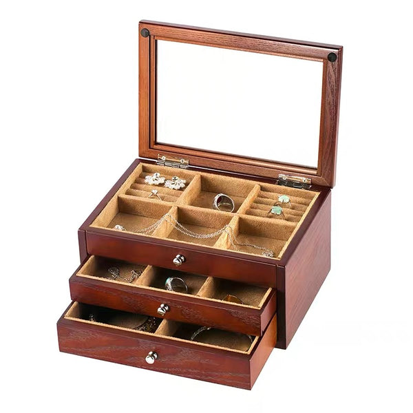 3 Layers Wooden Jewelry Storage Box Cosmetic Organizer - Nillishome