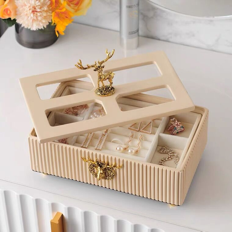 Elk Carving 2 Layers Jewelry Storage Box , Room Decoration