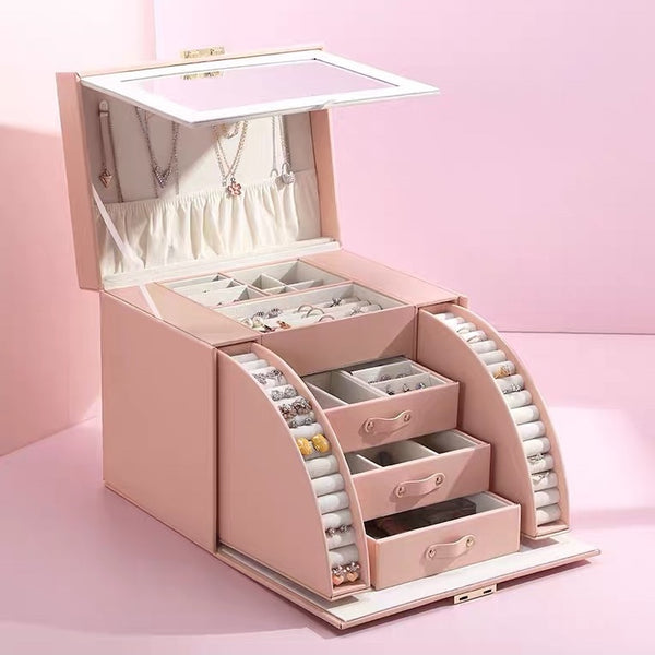 4 Layers Lockable High Capacity Mirrored Jewelry Box Organizers with Key