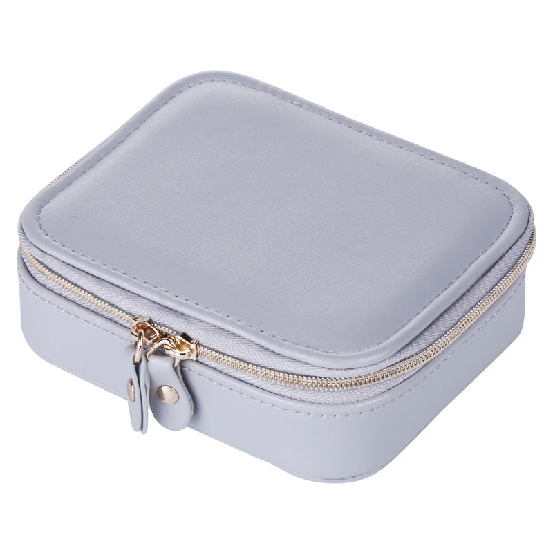 Solid Color Portable Double Zipper Travel Jewelry Organizer Small Jewelry Box - Nillishome