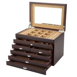 Vintage 6 Layers Wooden Jewelry Box With Mirror High Capacity Jewellery Organizer Box - Nillishome