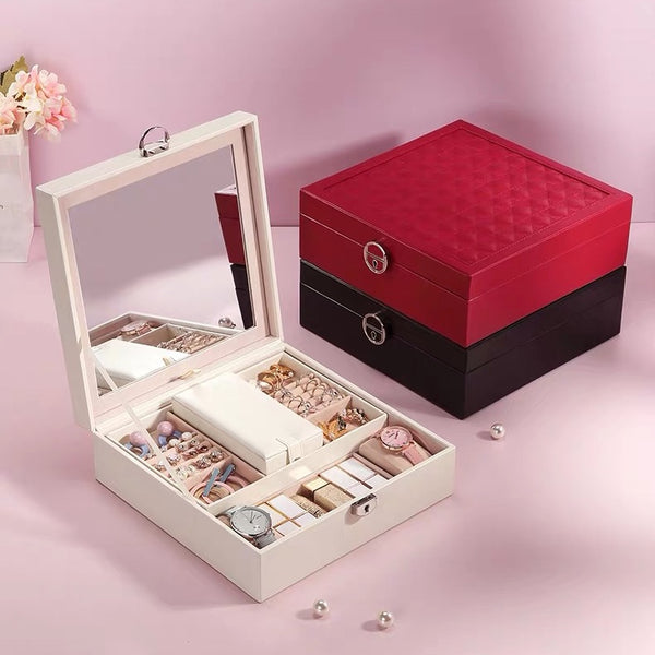 Lockable Jewelry box With Large Mirror Give away mini case - Nillishome
