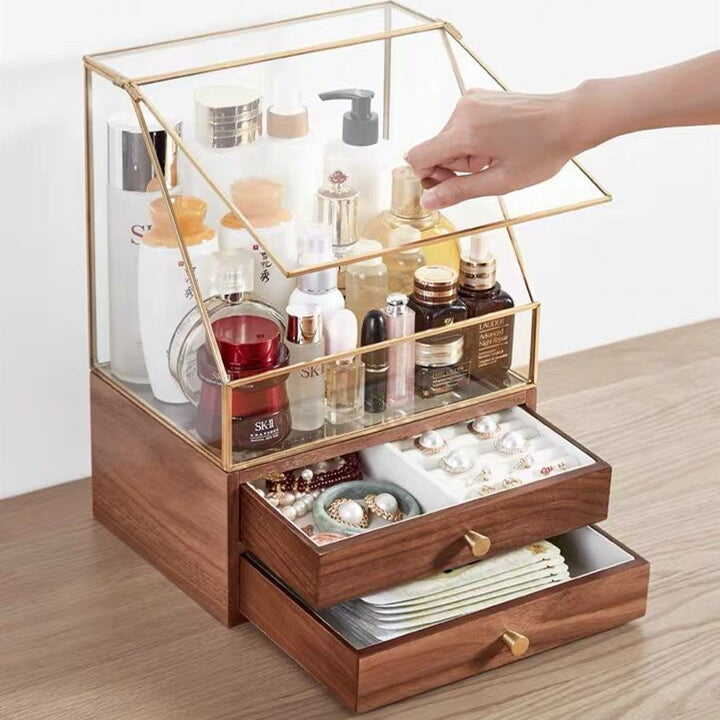 Beauty Organizer Acrylic Cosmetic Storage and Wooden Jewelry Box Dustproof and Waterproof