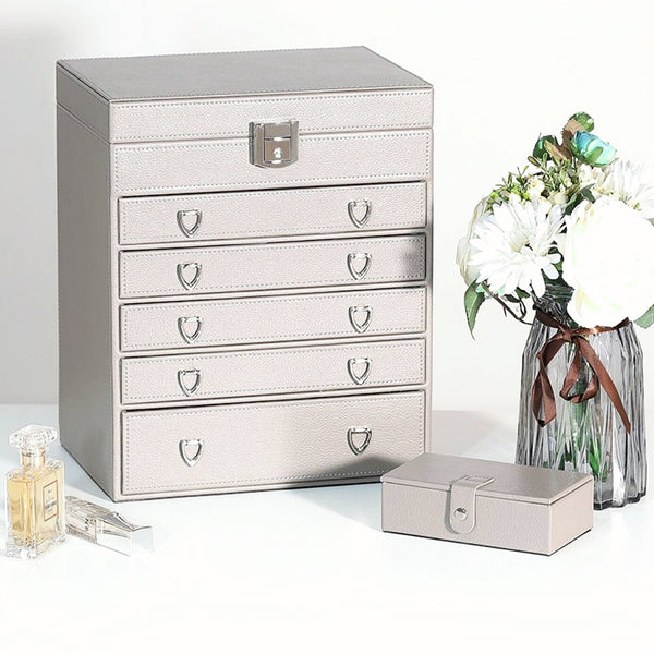 6 Layers Jewelry Box With 5 Drawers , Huge Leather Jewelry Storage Organizer