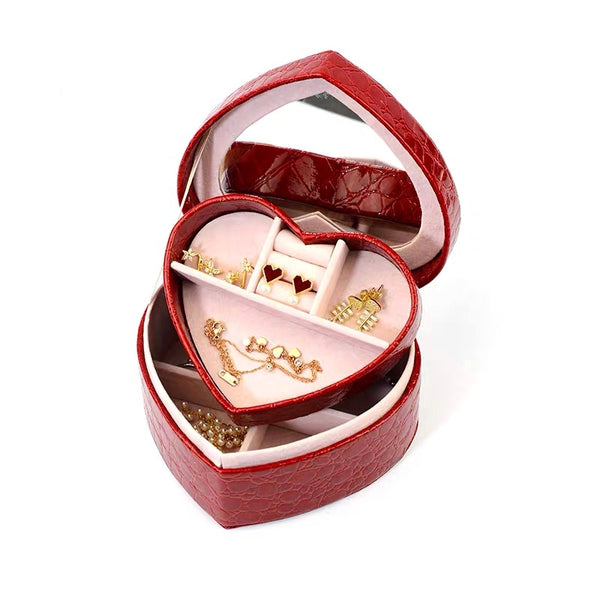 Portable Box Gift Red Heart Shape 2 Layers Jewelry Box Organizer  With Mirror