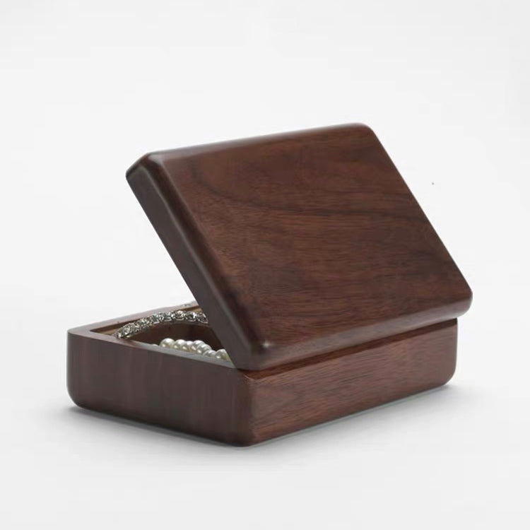 Protable Solid Wood Jewelry Storage Box  Magnet Cover WIth Mirror - Nillishome
