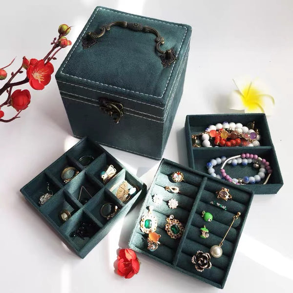 Jewelry Box for Women With Mirror Three-Layer Jewelry Organizer