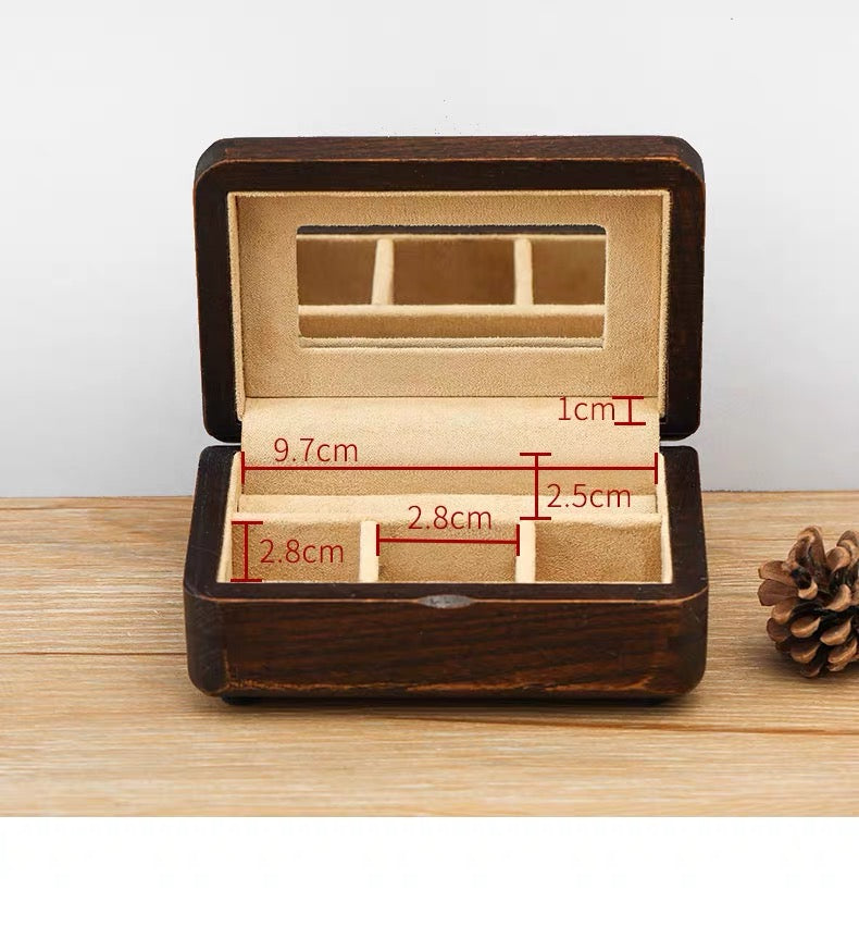 Portable Elm Wooden Jewelry Keepsake Box Gift for Loved Ones - Nillishome