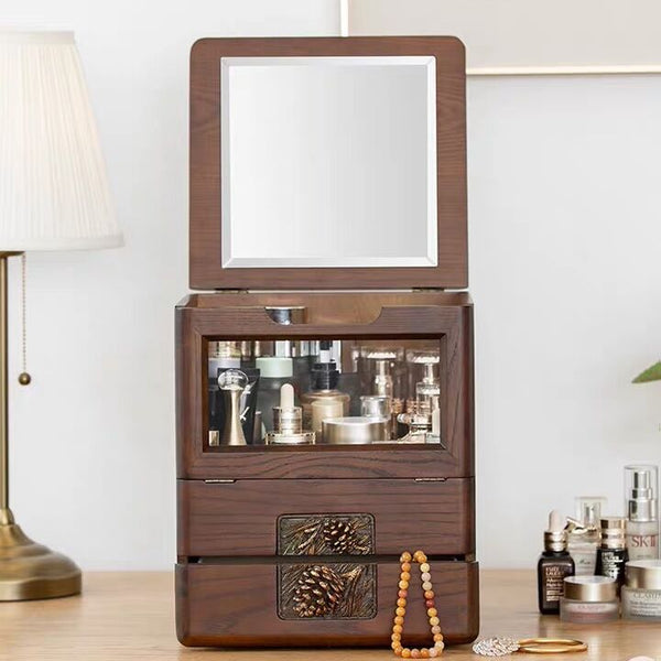 WOODEN COSMETIC STORAGE & JEWELRY BOX WITH MIRROR . Home Desk Organizer - Nillishome