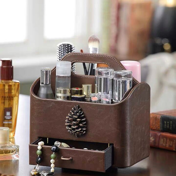 Drawer-style Cosmetics & Remote Control Holder 360 Degrees Rotatable Desk Organizer Leather Desktop Storage Box - Nillishome