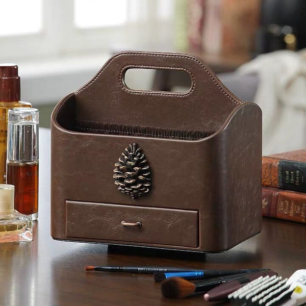 Drawer-style Cosmetics & Remote Control Holder 360 Degrees Rotatable Desk Organizer Leather Desktop Storage Box
