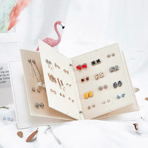 Portable Travel Jewelry Case Pu Leather Earring Holder with Book Design