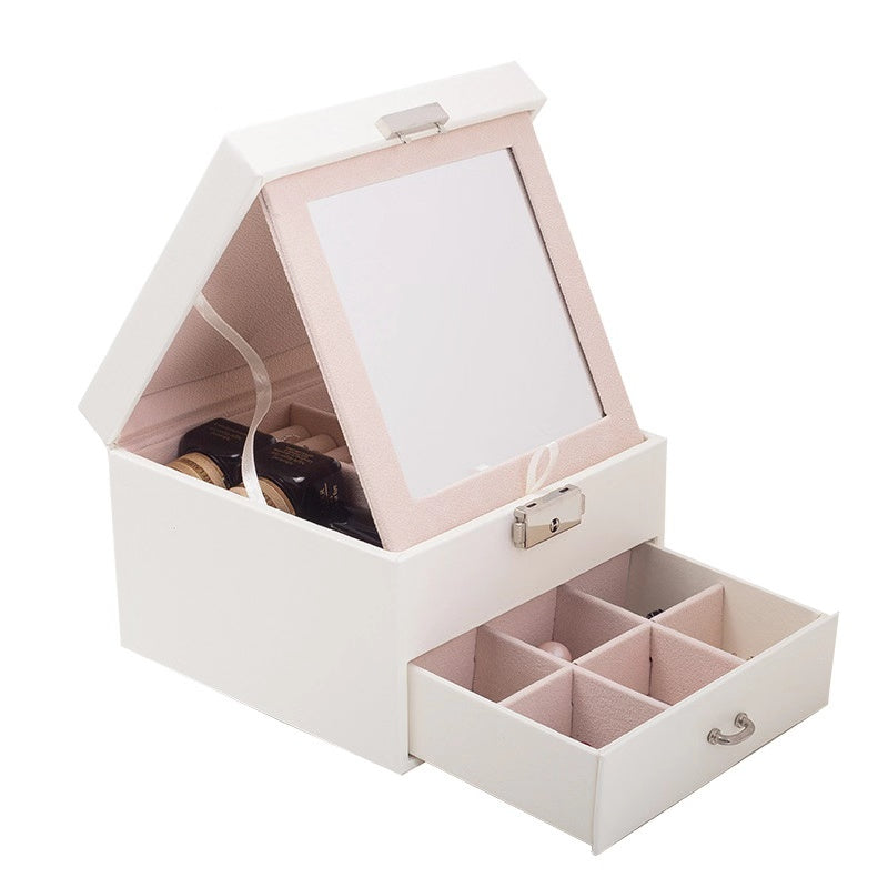 2 Layers Large Mirror Jewelry box with lock - Nillishome