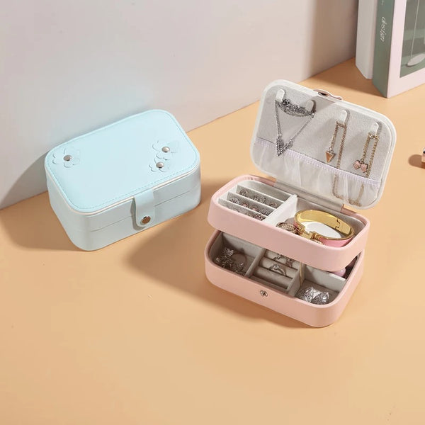 Portable Travel 2-Layer Jewelry Box Storage Organizer With Mirror