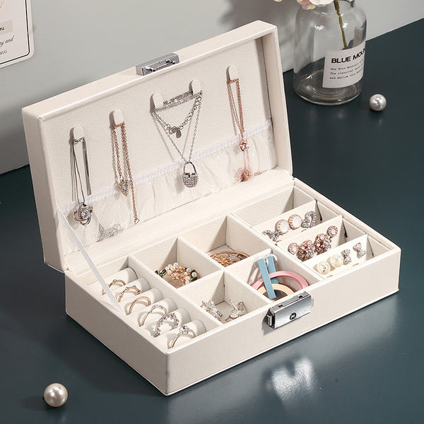 Travel Necklace Ring Storage Organizer Jewelry box with key - Nillishome