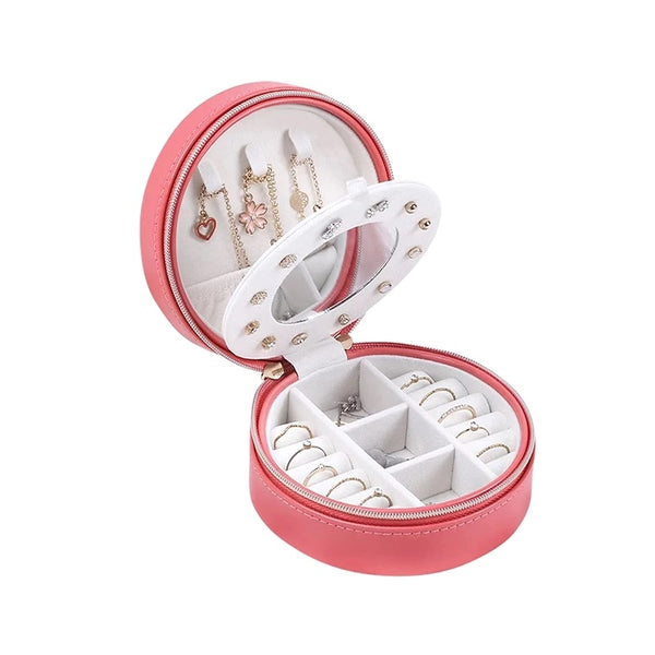 Mini Round Travel Jewelry Storage Cases Jewelry Box Organizer - Nillishome