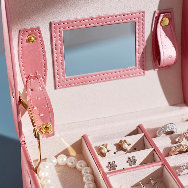 Portable 3 Layers Jewelry box with Lock and Mirror Travel Jewelry Organizer - Nillishome