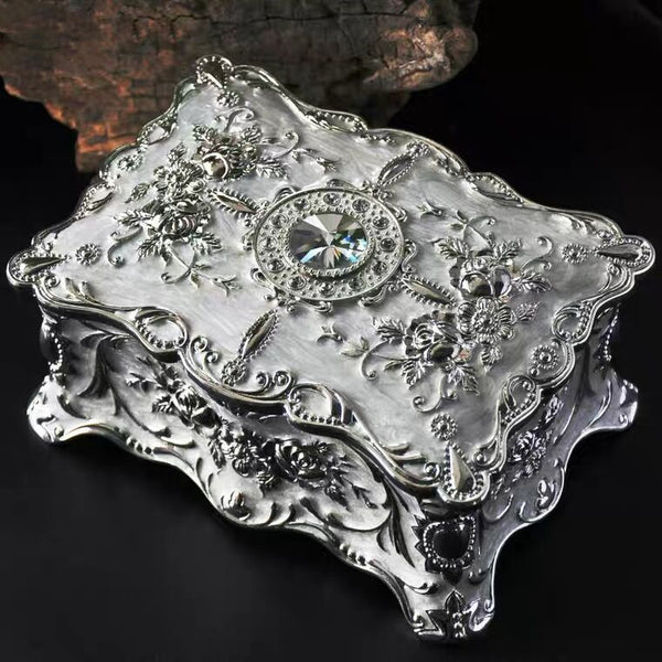 Vintage Baroque Metal Jewelry Box - Two Layer Organizer Storage Box Organizer