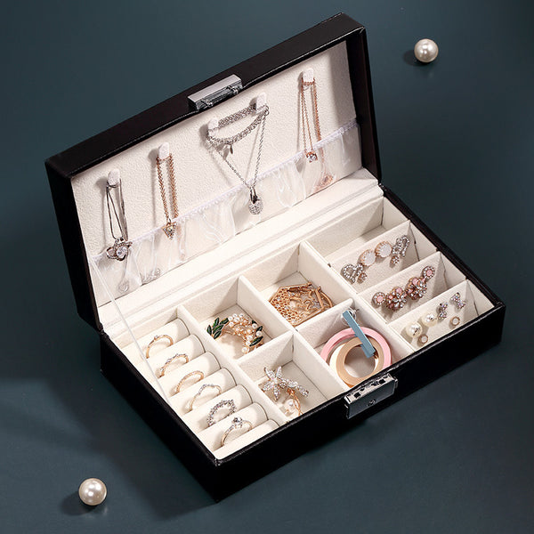 Travel Necklace Ring Storage Organizer Jewelry box with key