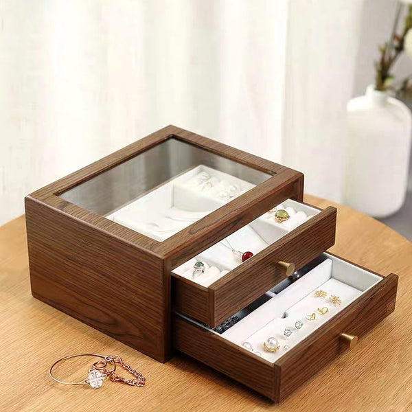 2 Drawers Jewelry Box with Glass Lid - Nillishome