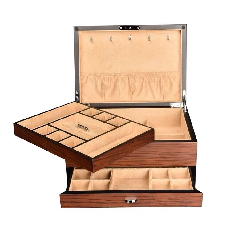 Vintage Ebony Wood Jewelry Box Three-Layers Large Capacity Jewelry Organizer WIth Lock - Nillishome