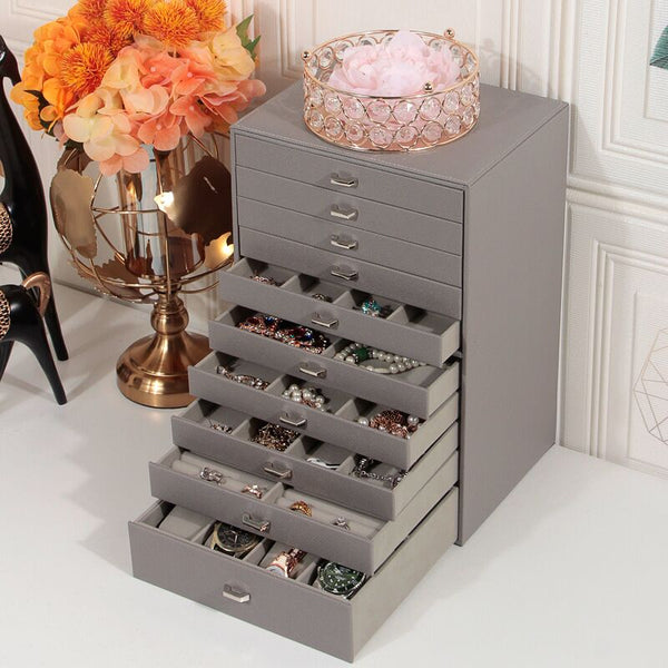 Large capacity ten-layers jewelry storage box organizer