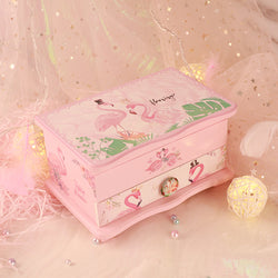 Unicorn & Flamingo Musical Jewelry Storage Box with Pullout Drawer