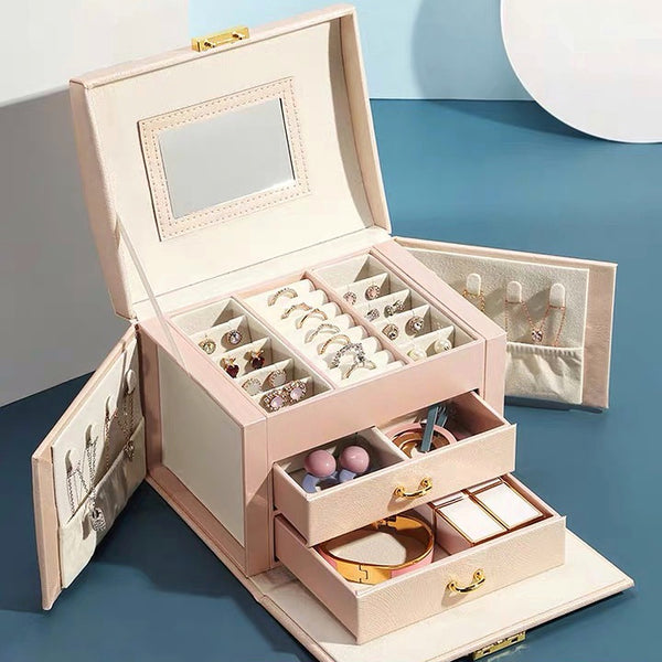 Multi-function Jewelry Box with Handle Mirror Lock Drawer Jewelry Organizer - Nillishome