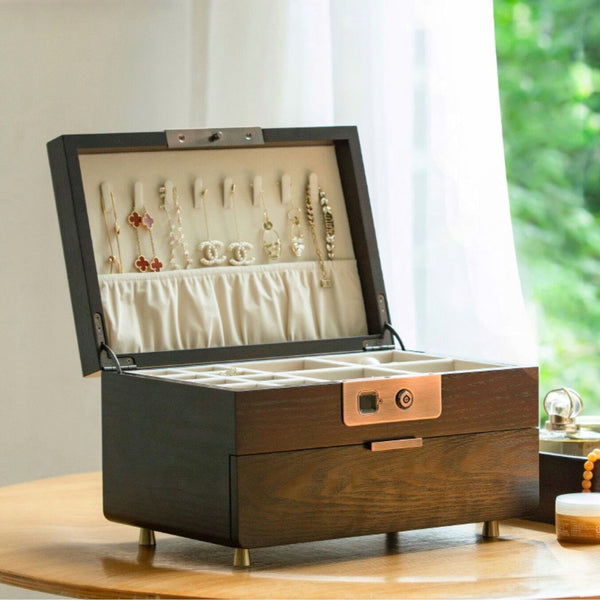 Wooden Jewelry Box with Fingerprint Lock,  Storage Box Organizer